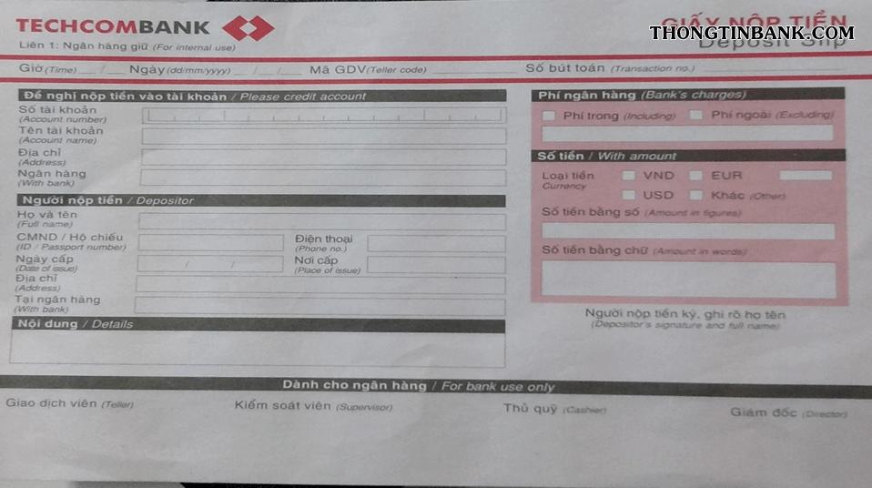 nop tien vao tai khoan techcombank co mat phi khong