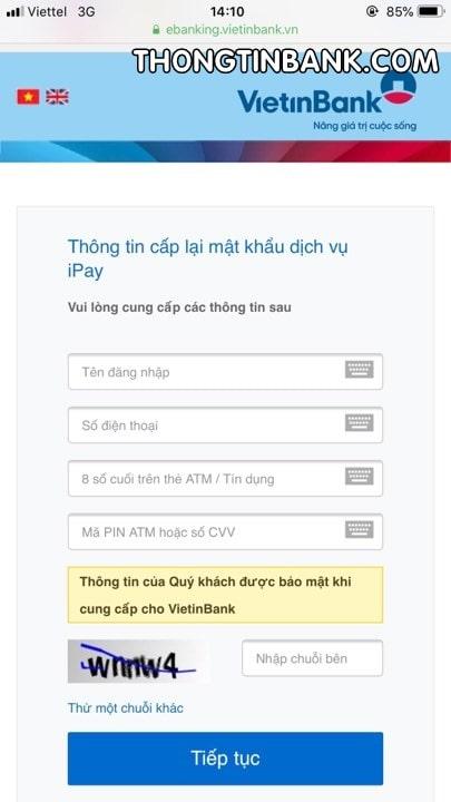quen mat khau ipay vietinbank tren dien thoai