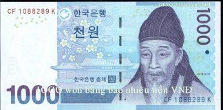 1000 won bang bao nhieu tien viet nam