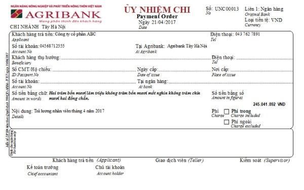 Mẫu séc của ngân hàng Agribank