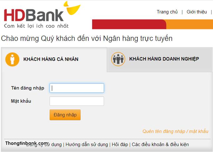 cach doi mat khau internet banking hdbank