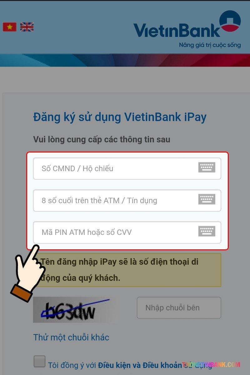 Đăng ký vietinbank ipay