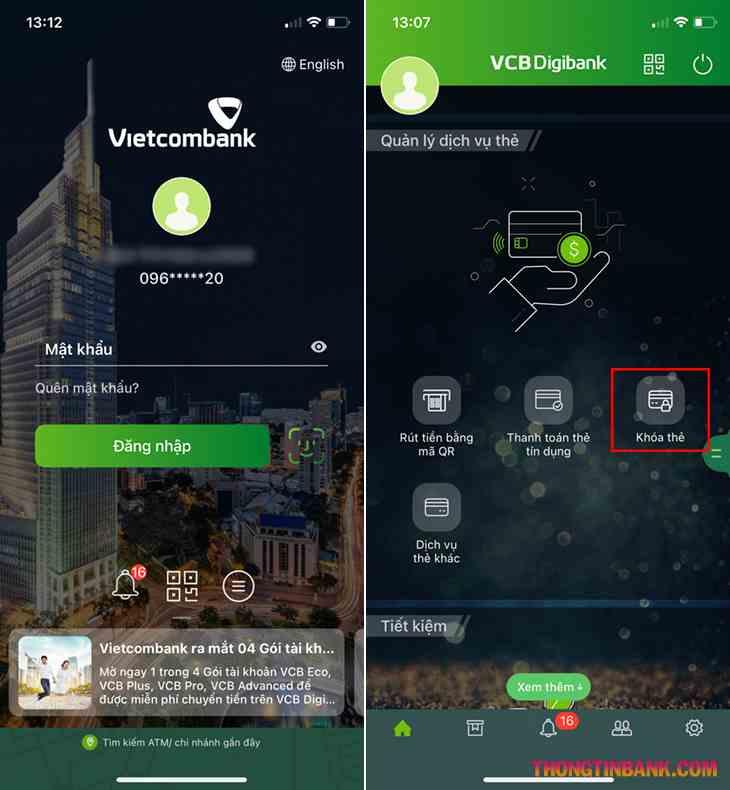 Cách khóa thẻ vietcombank trên điện thoại