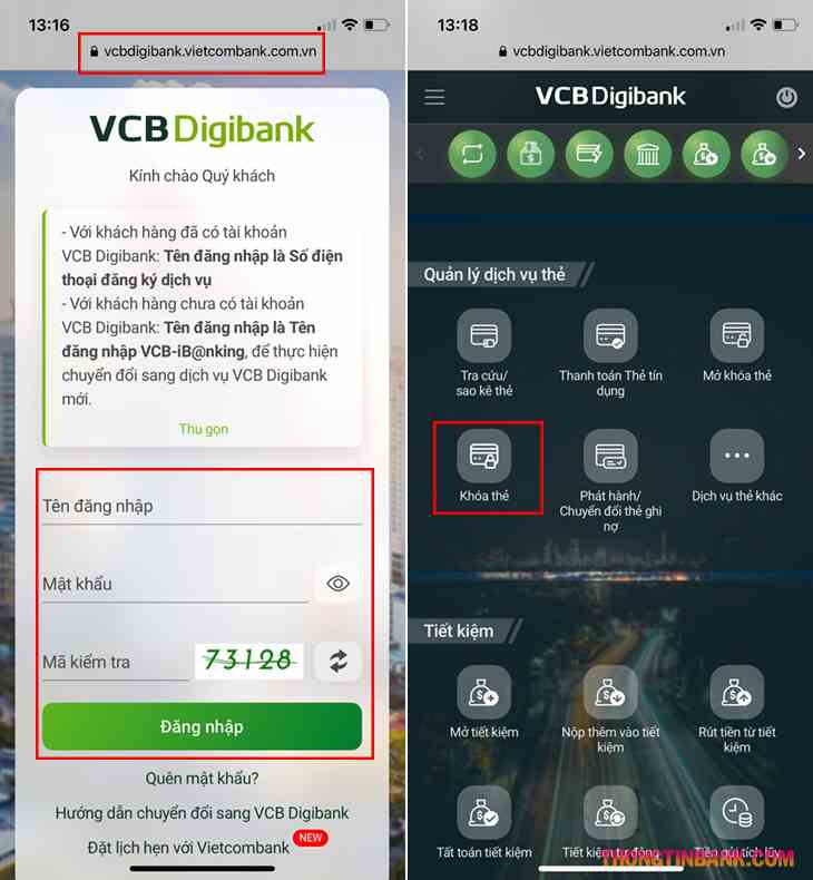 Cách khóa thẻ atm vietcombank