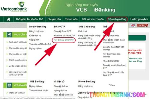 Hủy smart otp vietcombank